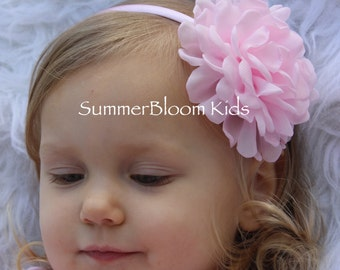Light pink headbands, pink flower girls headband, big girls headband, toddler headband, hard headband, soft pink wedding headband girls
