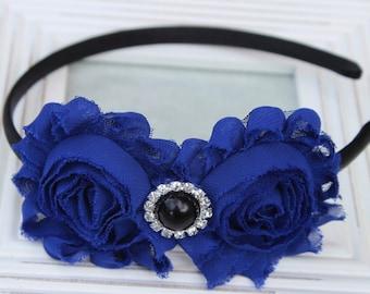 Royal blue headbands, plastic headband, flower girl headband toddler headband royal blue and black headband royal blue hair accessories