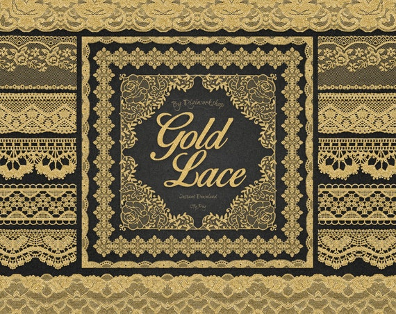 Digital Lace Borders Clip Art: Gold Lace Borders