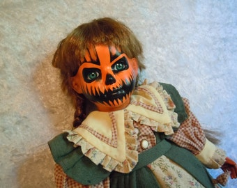 Pumpkin Faced Creepy Doll #17 Dark Art Day of the Dollies
