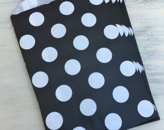 12 Black with White Dots Paper Party Bags