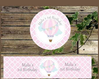 Personalized Pink Printable Favor Tags and Water Bottle Labels Pink Hot Air Balloon, First Birthday, Printable Party Supplies