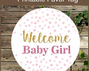 Pink and Gold Baby Shower Printable Favor Tag / Glitter Baby Shower Favor Tag / Instant Download / Girl Baby Shower Tag