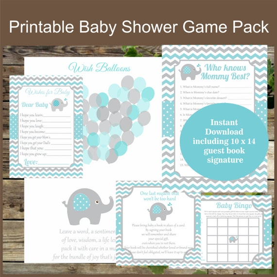 Baby Shower Games Pack Of 4 Elephant Games Instant Download