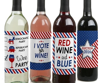 Election - Political Party - Election Party Wine Bottle Labels - Set of 4 Sticker Labels