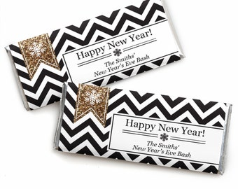 24 Dashing Reindeer - Holiday Candy Bar Wrappers - Personalized Holiday Party Favors