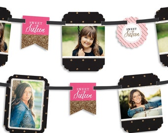 Chic 16th Birthday – Pink, Black, and Gold Party Photo Garland Banner - Custom Birthday Party Decorations - Sweet 16