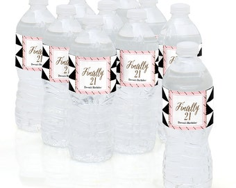 21st Birthday - Water Bottle Sticker Labels - Personalized Waterproof Self Stick Labels - Chic Finally 21 - Birthday Party Favors - 10 Ct.
