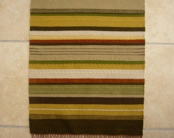 HANDWOVEN WALL HANGING / Vintage swedish tapestry / Hand made / Scandinavian / Wool / Striped / Green / Brown / Rug