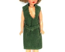 Green Corduroy Vintage Tammy Doll Jumper Dress - Handmade In The 60s - Clothes Clothing Only - Doll NOT Included - Excellent Condition