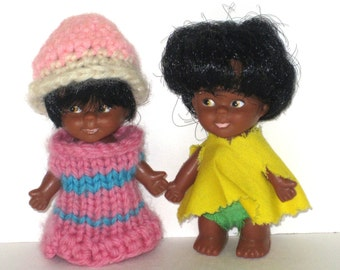 Vintage Dime Store Doll Lot - 1960s - 10 Cent Store - Black African American - Twins - Brother Sister - Boy And Girl - Excellent Condition