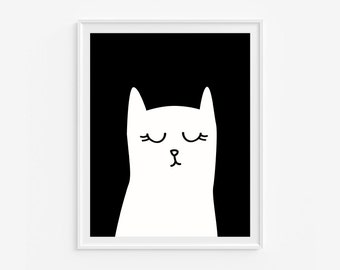 Cat wall art giclee print- Black and white nursery art- Modern room decor- (A- 552)