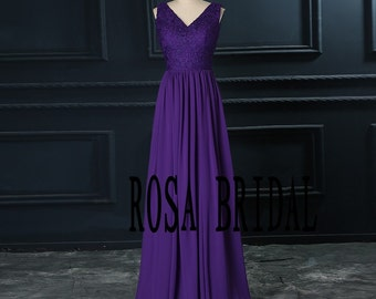 Long bridesmaid dress V neck, Lace bridesmaid dress regency color chiffon Custom Size color