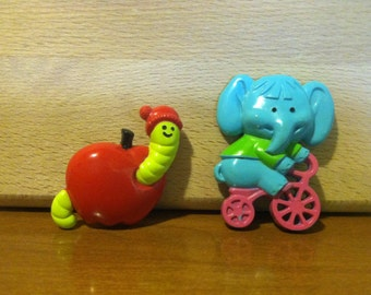 Super Cute ! Avon Children's Shirt Pins Brooch - Pedal Pusher Blue Elephant & Willy The Worm - Lot of 2 - 1974-1975 - FREE SHIPPING