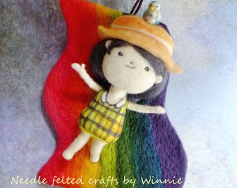 Over the rainbow wall hanging pulley music box Needle felted handmade 3D wool doll OOAK