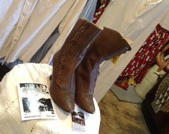 Gamba Brand Victorian Style British Bespoke Button Boots US sz 6 1/2 in excellent condition