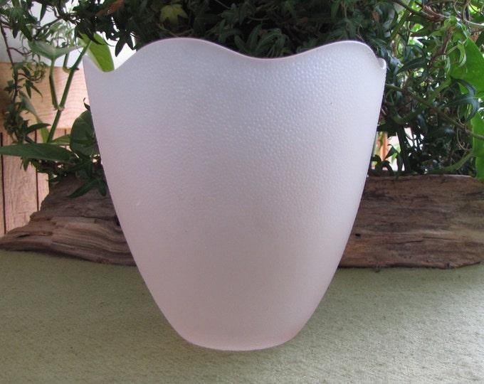 Vintage Pink Frosted Tulip Vase Florist Ware Planter and Pots
