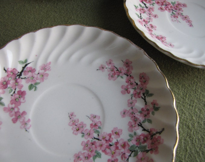 Apple Blossom Saucers Nasco Dominion Warranted 22 KT Coffee Saucer Set of Eight (8)