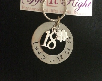 18th Birthday Name Necklace with Clover- New