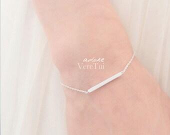 Delicate Minimal Slim Bar Barred Bracelet in Silver