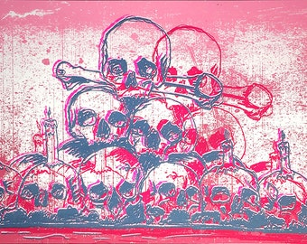 Skulls Handprinted silkscreen screenprinted poster