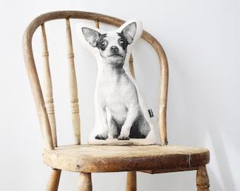 Chihuahua dog shaped pillow cushion monochrome screenprint