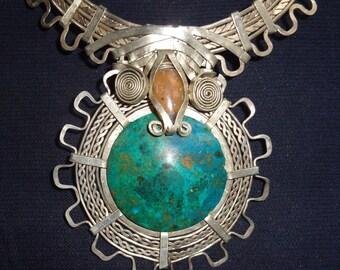 Choker necklace in alpaca silver, inka style