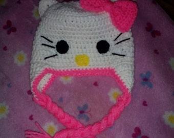 Hello Kitty inspired crochet hat