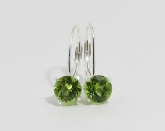 Genuine Peridot Earrings, Sterling Silver Leverbacks, 6 mm, Peridot Leverbacks, Green Gemstone Earrings, August Birthstone