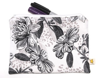 Black and white zipper pouch, flowers pencil case or makeup pouch