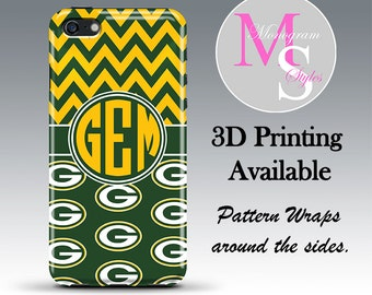 Monogram iPhone Case Green Bay Packers Chevron Monogrammed iPhone 4 4S Personalized Iphone 5, 5S, 5C iPhone 6 iPhone 6 Plus Tough Case #2636