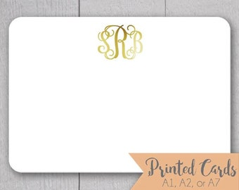 Foiled Lettering Monogram Note Cards - 24pk, Personalized Flat Foiled Cards, Printed Cards without Envelopes (NC14-F)