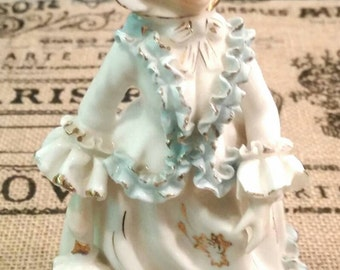 Antique victorian rococo edwardian statue figurine porcelain ceramic with dress and parasol