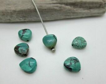 Turquoise Heart Bead, Hubei Turquoise Tiny Heart, 7.5x8.5mm (6)