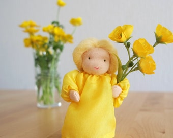 Little Buttercup Flower Child for the Nature Table of Spring or Summer