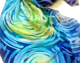 Starry sky Handpainted silk scarf Hand painted silk Handpainted scarves Silk painting Blue shawl Unique scarf Spring fashion Gifts for mom