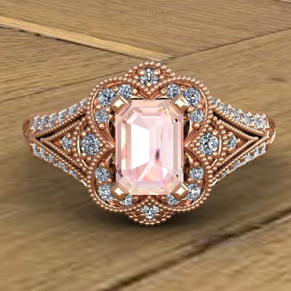 Morganite Engagement Ring Emerald Cut Diamond Scallop Halo