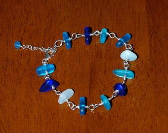 Handlinked Sterling Silver White & Blue Sea Glass Bracelet