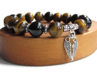 Mens beaded bracelet, mens gift idea, Tigers Eye bracelet, Protection bracelet