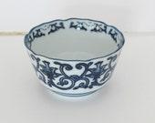 Small Vintage Blue & White Bowl, Mini Blue and White Chinoiserie Dish