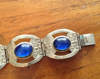 Vintage Taxco Mexico Glass Cabochon Bracelet