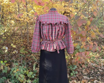 Sz Med (36-38' bust)Victorian Turn-of-the-century Gibson Girl ladies' Day/Work Blouse in Cotton  Homespun plaid  --READY-TO-SHIP- Marilla