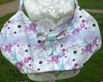 Bow Hobo bag! Slouch bag, boho bag, sling bag, ladies, kids, teens,Size large/XL,Paris/bird print, Velcro closure, lace, so adorable!!