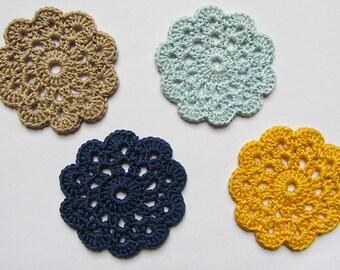Crochet coasters, set of 4 coasters, handmade, retro coasters, cotton