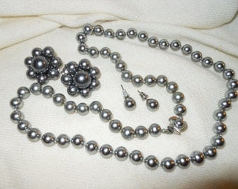 vintage grey faux pearl necklace and matching earrings