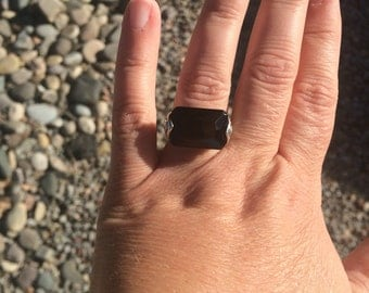 Faceted onyx ring sterling silver ring