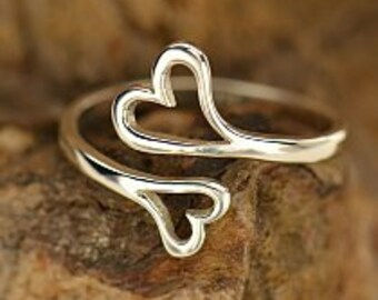 Adjustable Sterling Silver Double Heart Ring