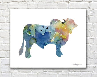 Blue Brahma Bull Art Print - Abstract Watercolor Painting - Wall Decor
