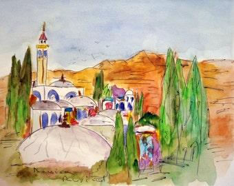 Only ORIGINAL WATERCOLOR / the Sahel / Tunisia /, travel / Rovira by Rusiñol 32 x 24 cm