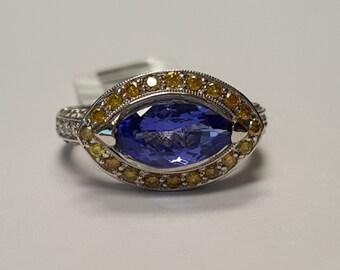 TANZANITE & Fancy Color Diamond Ring, 18-K